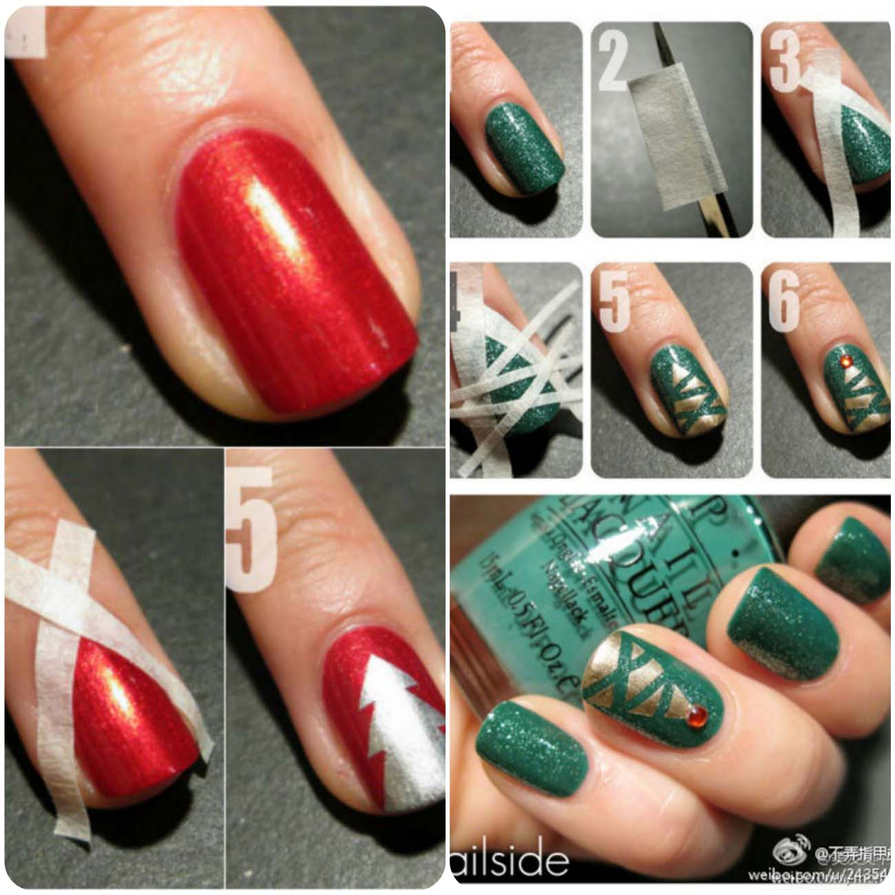 Easy-Simple-Christmas-Tree-Nail-Art-Tutorial-2012-For-Girls-1_Fotor_Collage