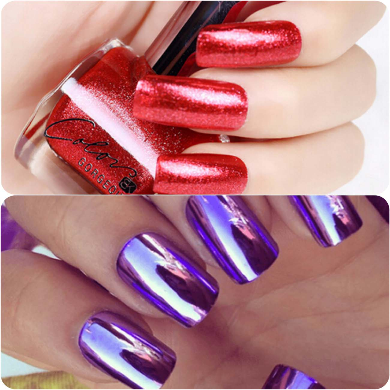 dazzling nail art with mirror effects