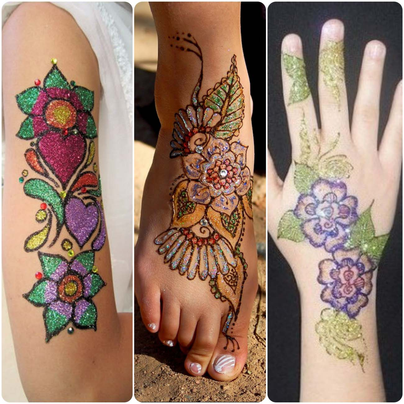 Latest Glitter Mehndi Designs For Girls 2020