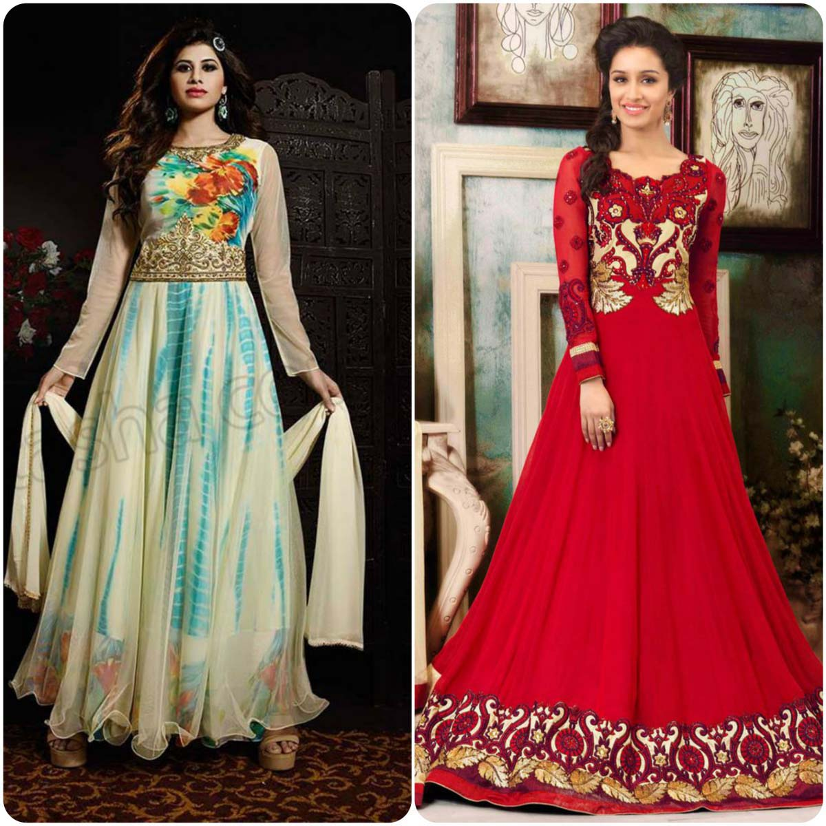 Natasha couture anarkali frocks collection