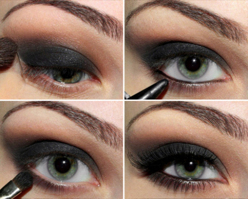 Black Smokey Eyes Makeup Step By Step- Tutorial (17)
