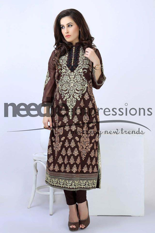Needle Impressions Unstitched Embroidered Chiffon Collection 2016-2017