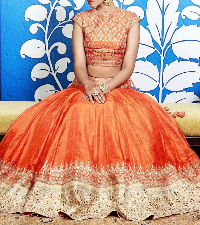 orange and red lehenga styles