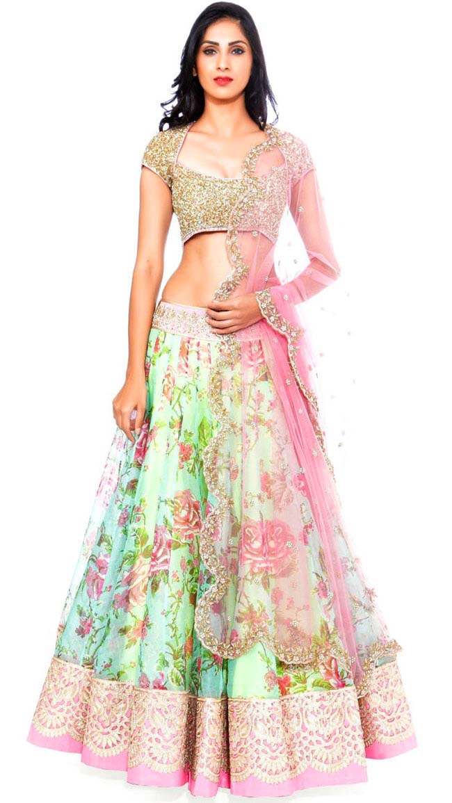 Pink and green floral print lehenga by Anushree Reddy...styloplanet.com