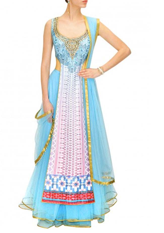 Powder blue and pink digitally print embroidered lehenga...styloplanet.com