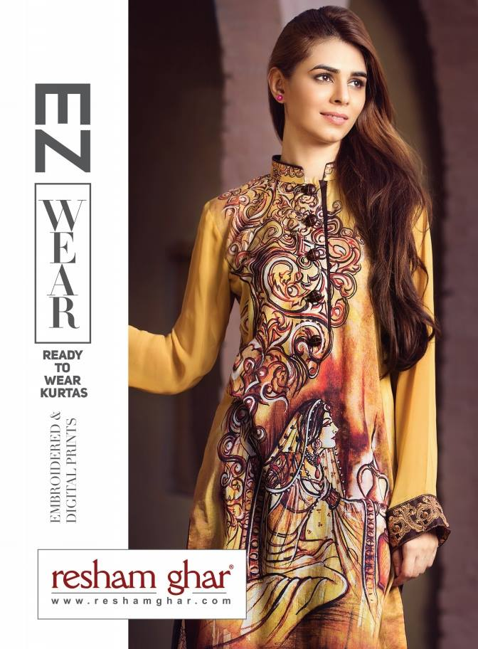 Resham Ghar Cotton Digital Print & Embroidered Shirts Collection 2016-2017
