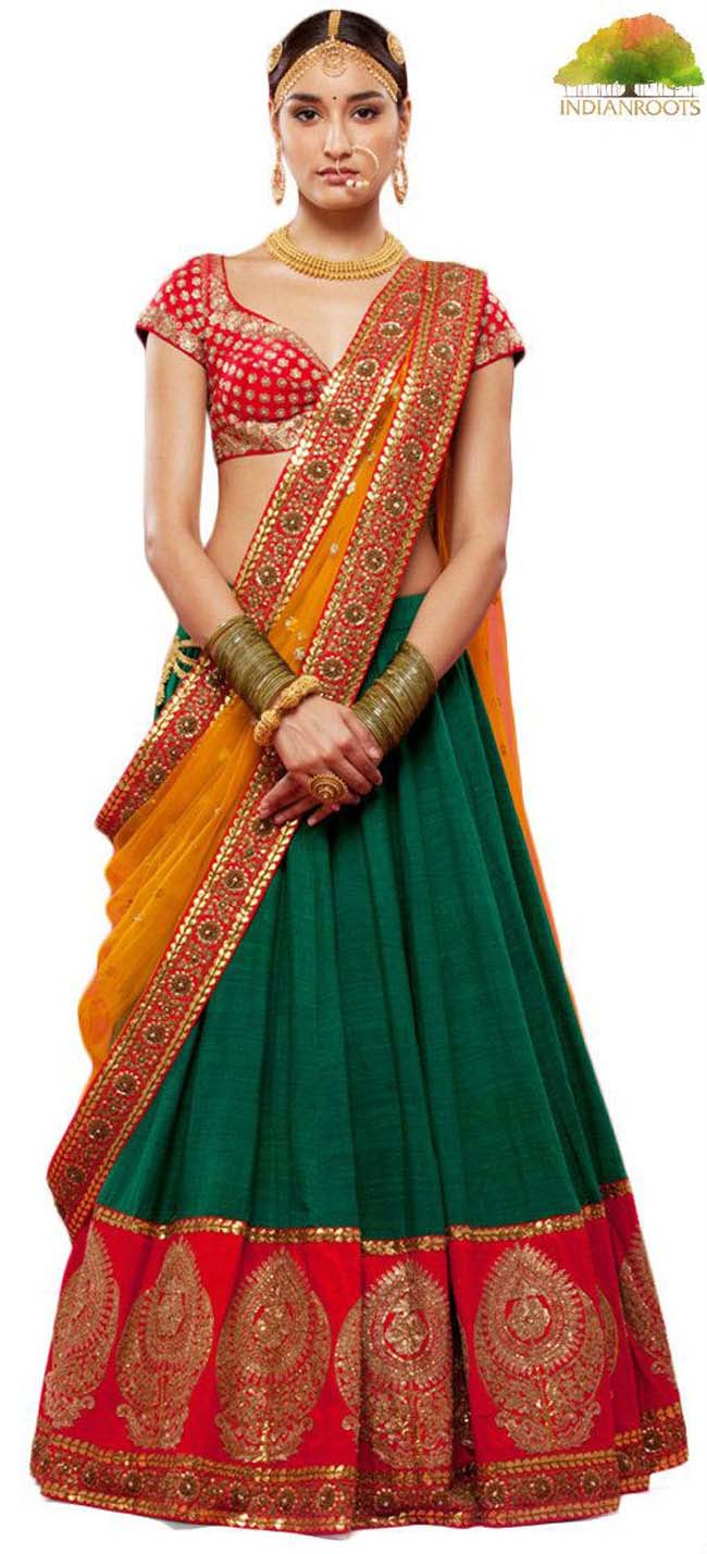 Sabyasachi green colored raw silk and zari work bridal lehenga with brocade choli...styloplanet.com
