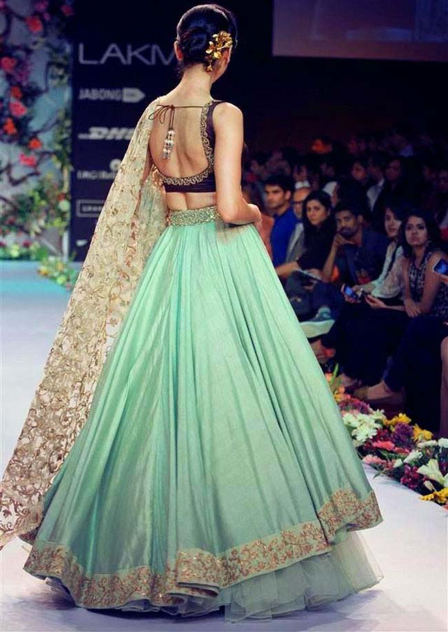 Sea green and golden color lehenga Shyamal and Bhumika lehenga...styloplanet.com