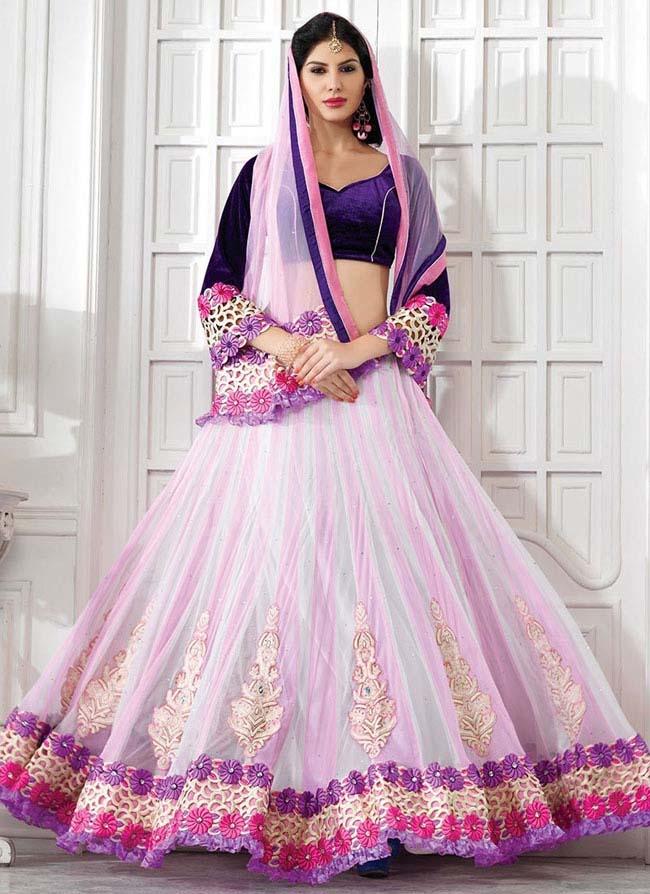 Stylish pink off white net lehenga choli...styloplanet.com