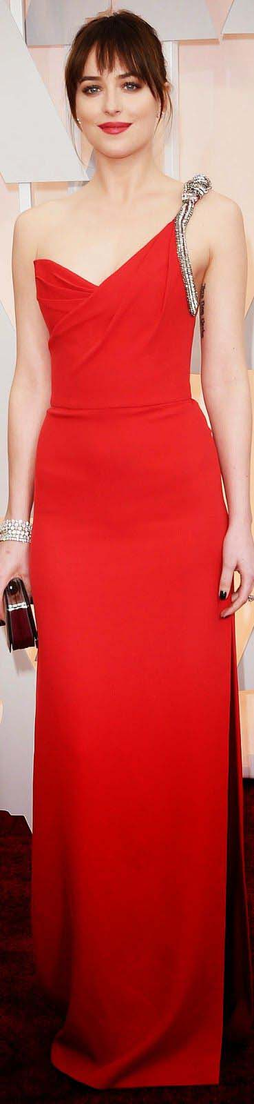 Dakota Johnson in Saint Laurent Dress, Belly Bag and Mark Diamonds Jewelry