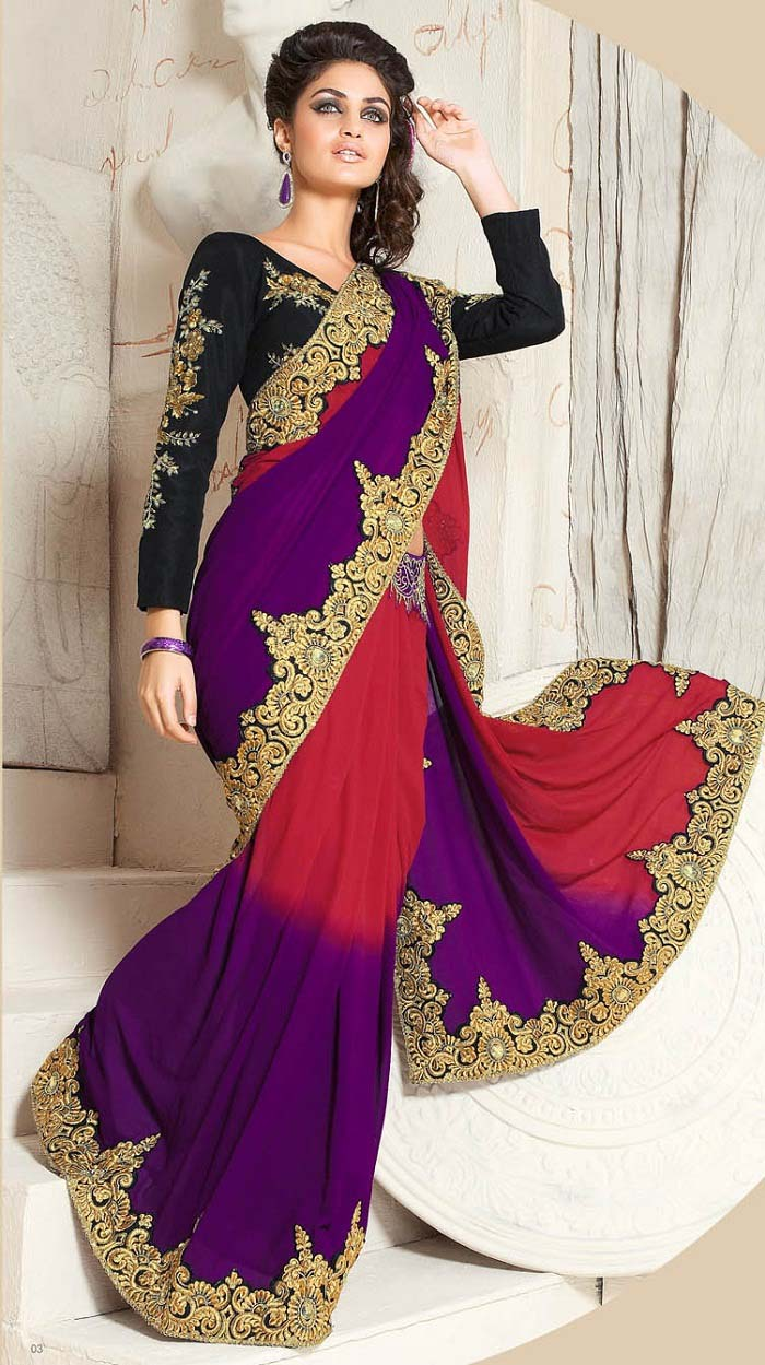 Pakistani & Indian Designers Party Wear Sarees Collection 2016-2107 (14)
