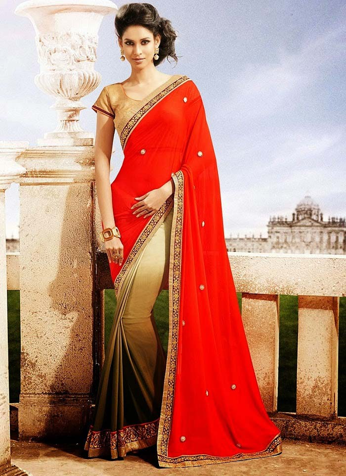 Pakistani & Indian Designers Party Wear Sarees Collection 2016-2107 (20)