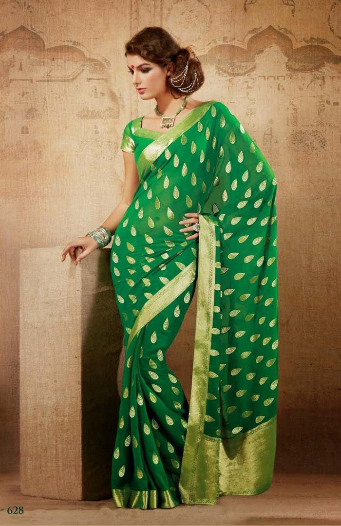 Pakistani & Indian Designers Party Wear Sarees Collection 2016-2107 (6)