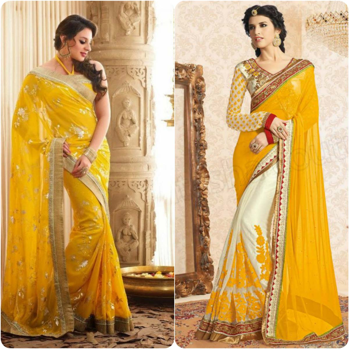 Beautiful Yellow Mehndi Dresses for Wedding Brides 2016-2017 (12)