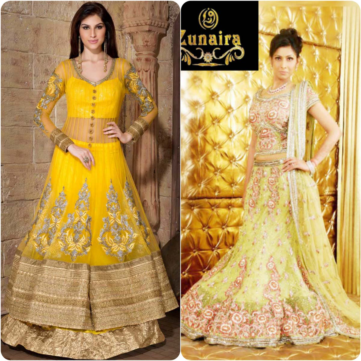 Beautiful Yellow Mehndi Dresses for Wedding Brides 2016-2017 (24)