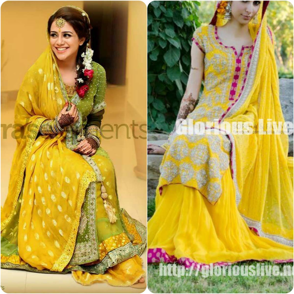 Beautiful Yellow Mehndi Dresses for Wedding Brides 2016-2017 (5)