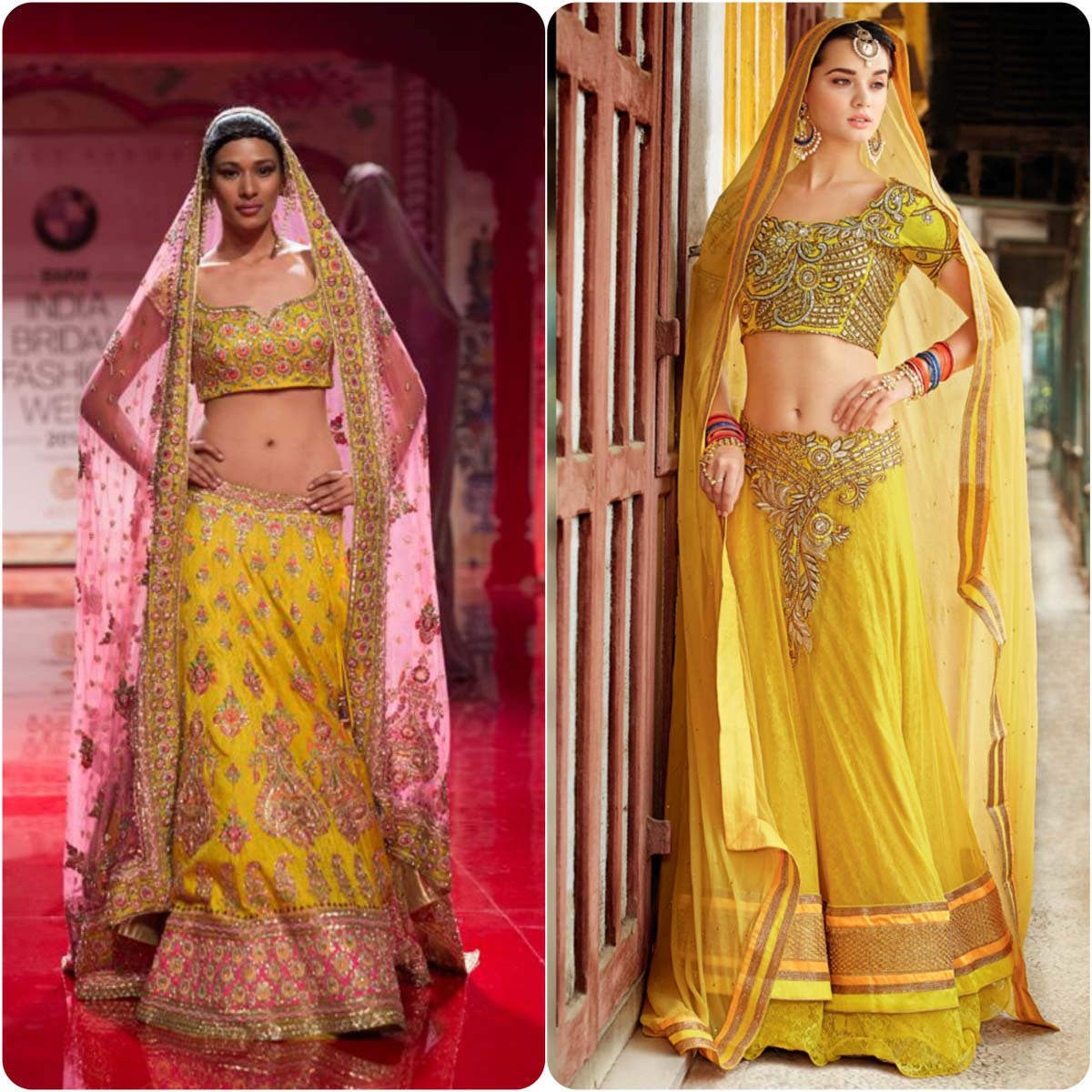 Beautiful Yellow Mehndi Dresses for Wedding Brides 2016-2017 (7)