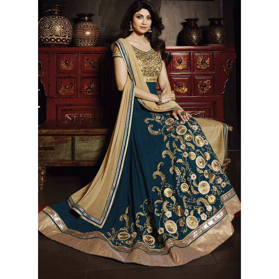 Floor Length Anarkali Frocks & Suits Collection 2016-2107 (5)