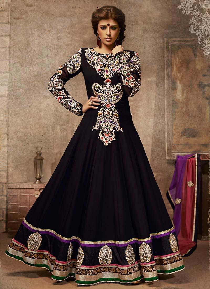 Floor-Length-Anarkali-Suits-Designs-In-Black-2015-For-Girls