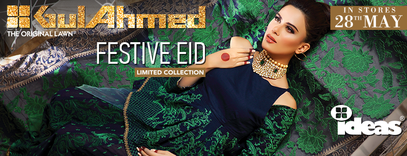 Gul Ahmed Festive Eid Dresses Embroidered, Silk, Lawn and Chiffon Collection 2016 (1)