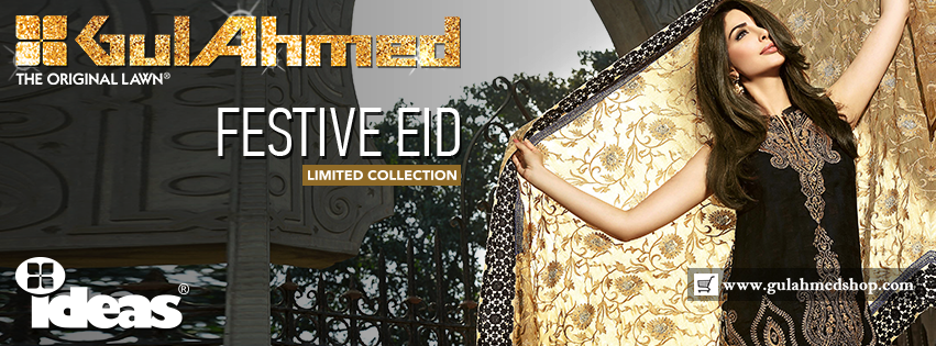Gul Ahmed Festive Eid Dresses Embroidered, Silk, Lawn and Chiffon Collection 2016 (3)