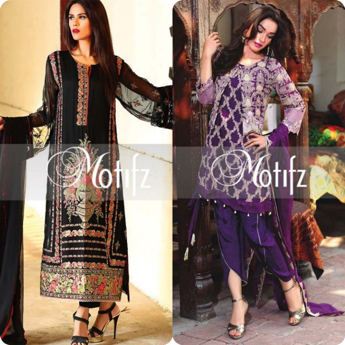 Latest Motifz Embroidered Crinkle Chiffon Eid 2016 Collection for Women (13)