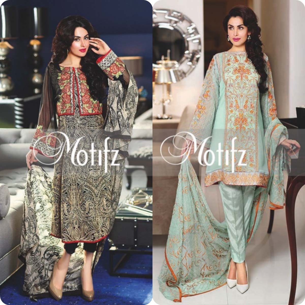 Latest Motifz Embroidered Crinkle Chiffon Eid 2016 Collection for Women (3)