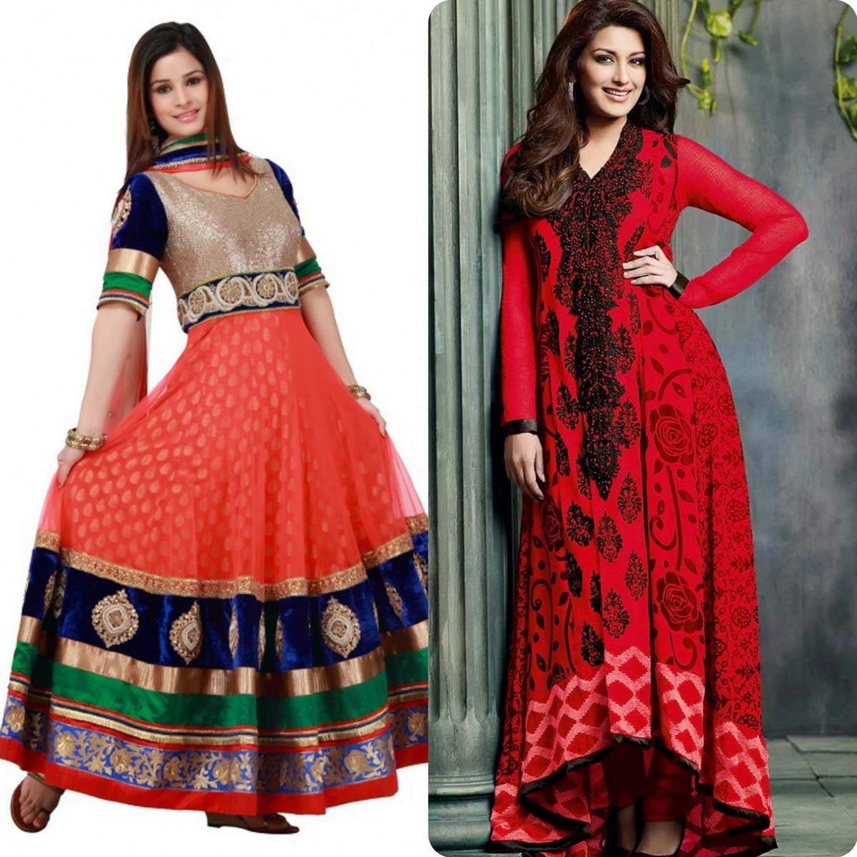 Indian Stylish Umbrella Frock and Churidar Dresses for Girls 2016-2017 (11)