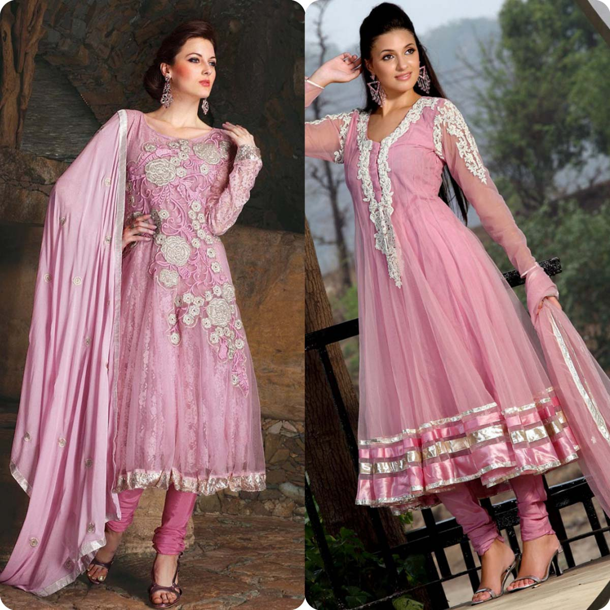 Indian Stylish Umbrella Frock and Churidar Dresses for Girls 2016-2017 (12)