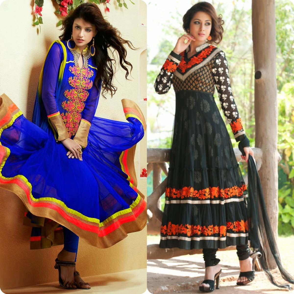 Indian Stylish Umbrella Frock and Churidar Dresses for Girls 2016-2017 (15)