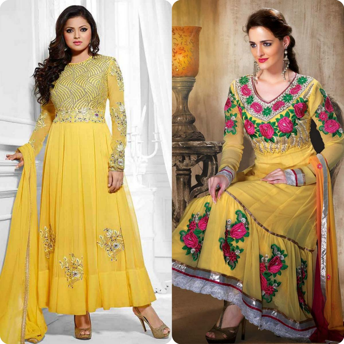 Indian Stylish Umbrella Frock and Churidar Dresses for Girls 2016-2017 (7)