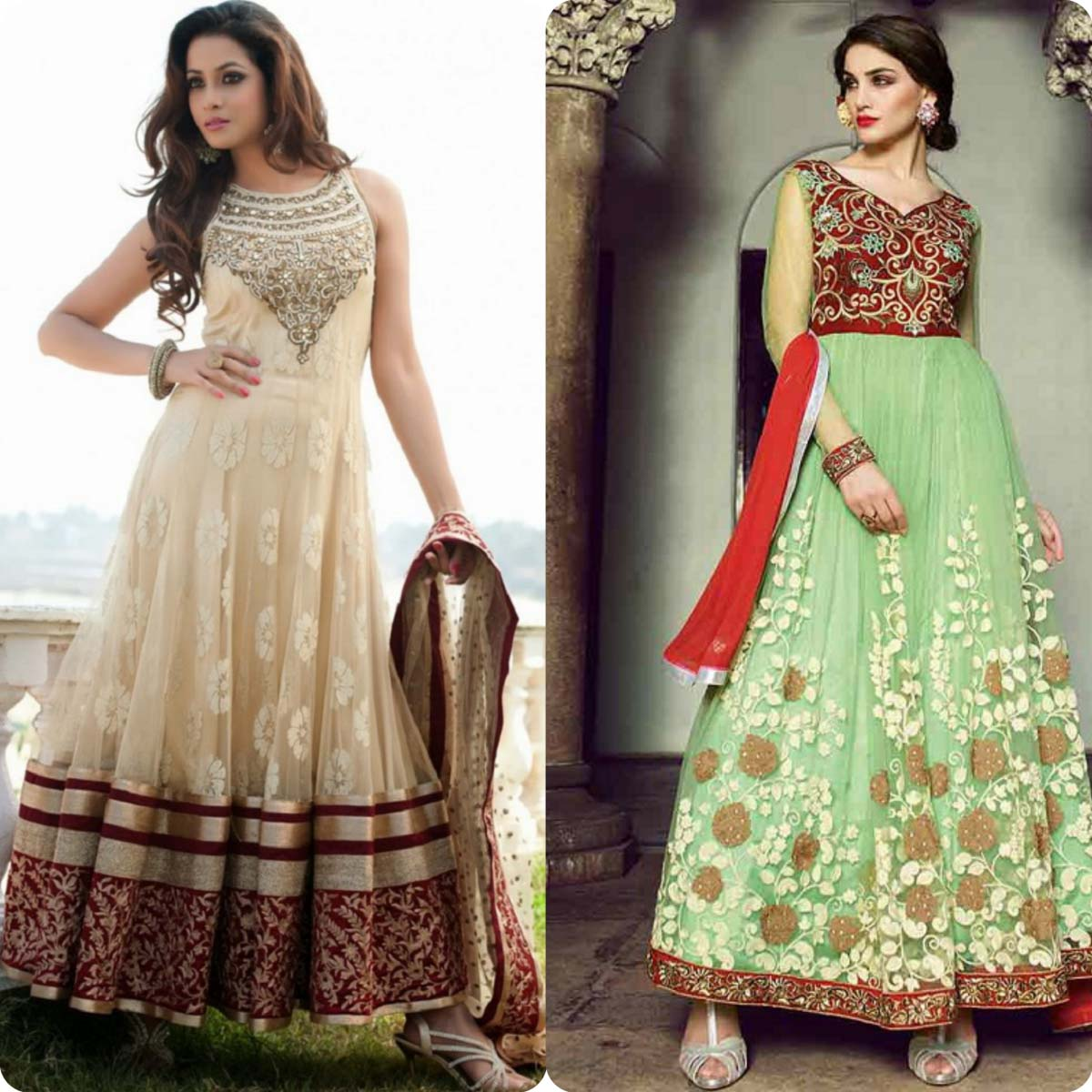 Indian Stylish Umbrella Frock and Churidar Dresses for Girls 2016-2017 (9)
