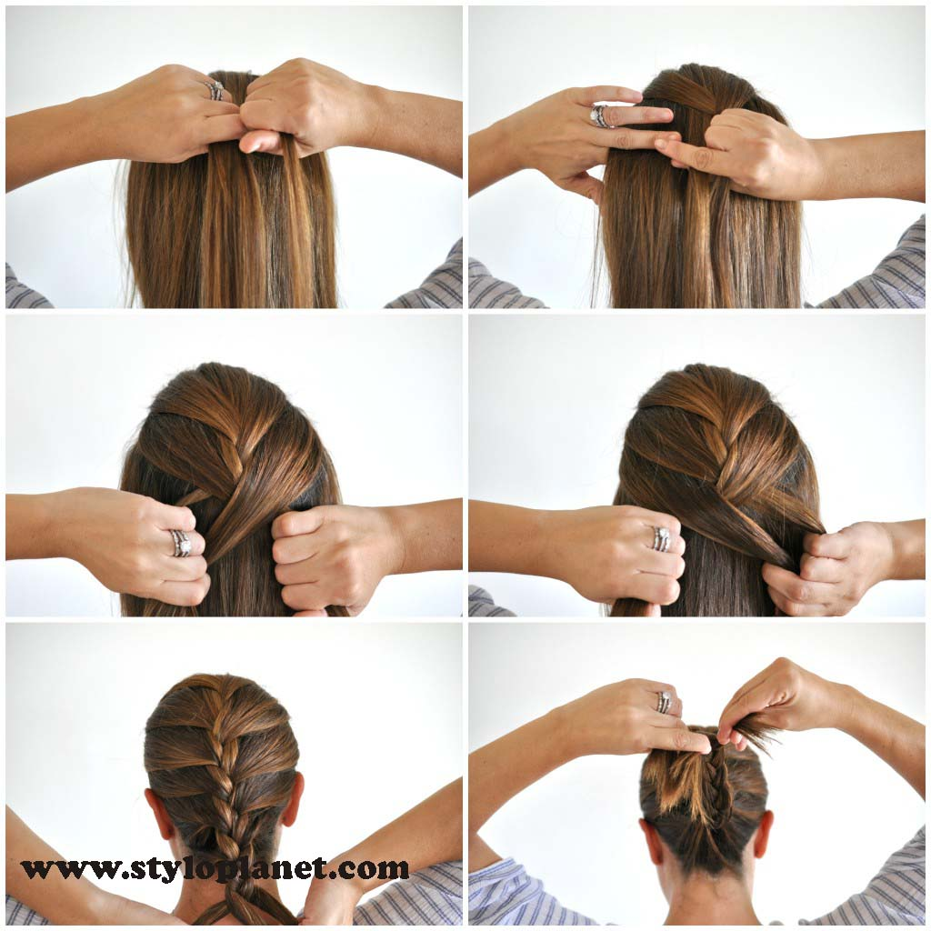 How to Make French Braid Step by Step French Top Knot Tutorial With Pictures (13)