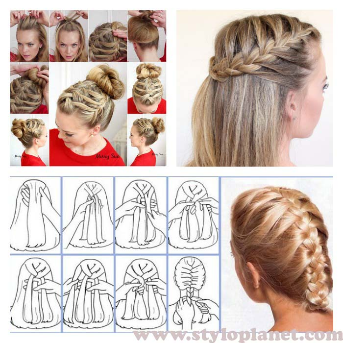 How to Make French Braid Step by Step French Top Knot Tutorial With Pictures (5)