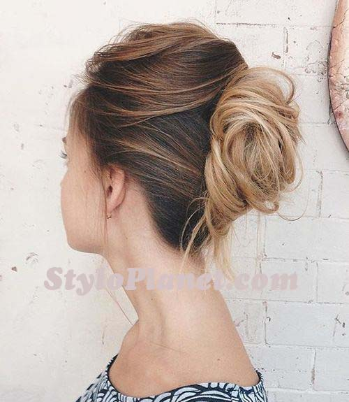 Messy French Twist for Ombre Hair