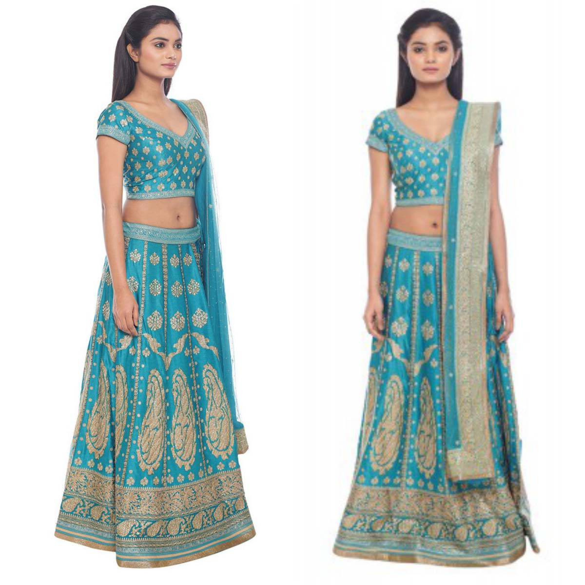turquoise-and-gold-satin-lehenga