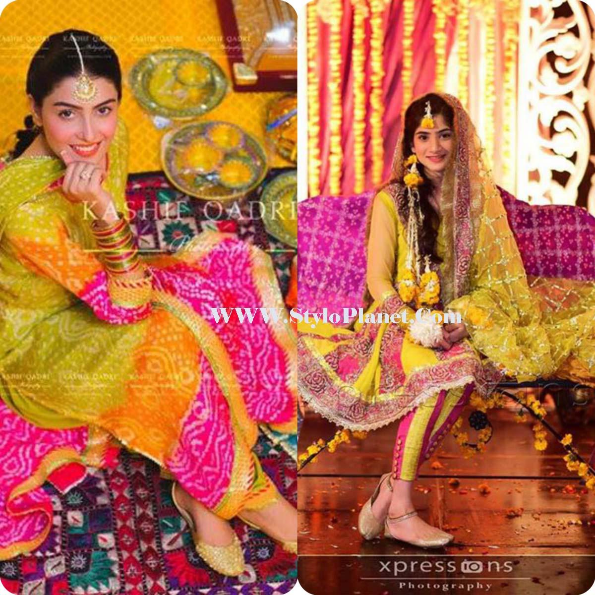 Mehndi Clothes Design 2018 : Mayoun mehndi latest dresses for bridals stylo planet
