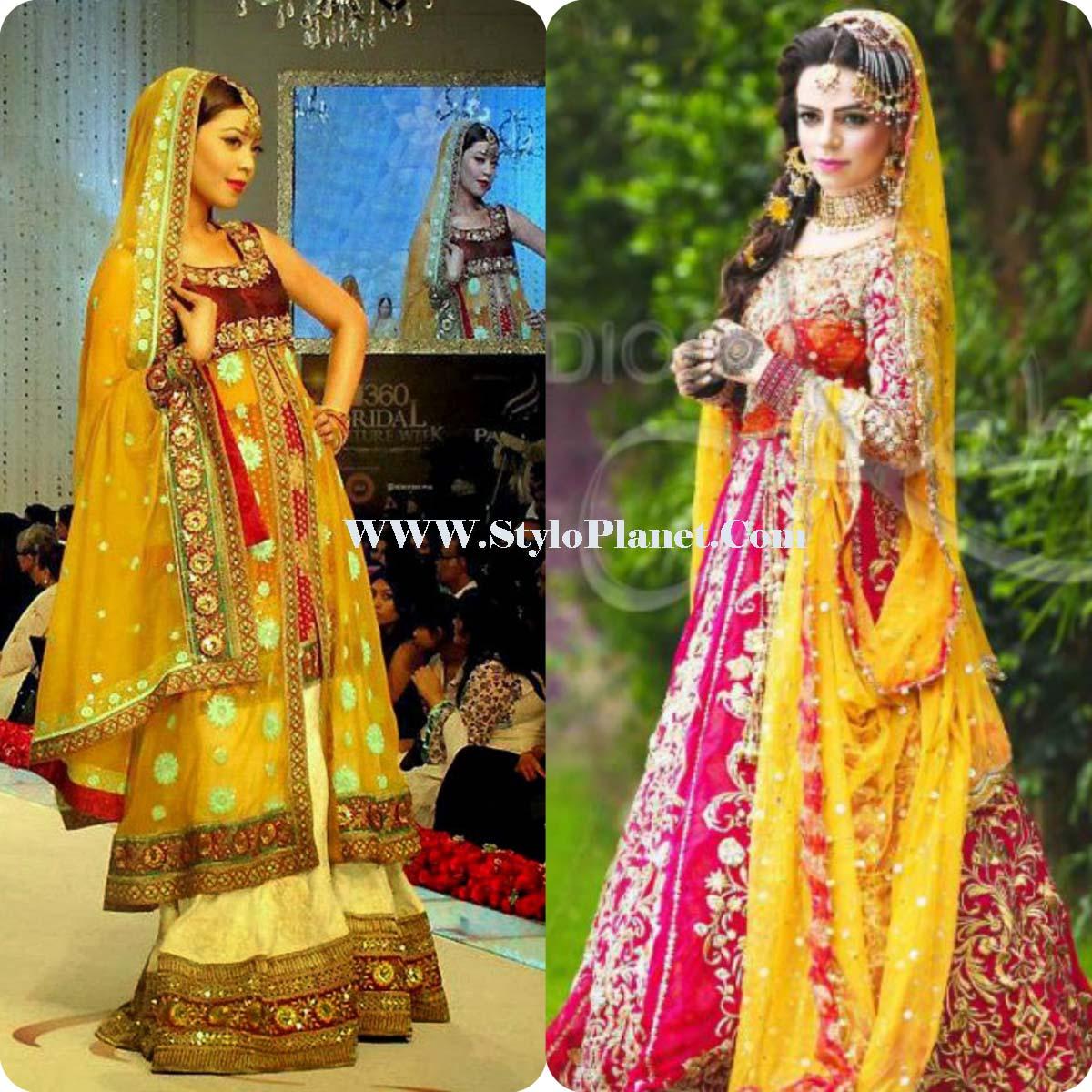 Mehndi Party Dresses 2018 : Mayoun mehndi latest dresses for bridals stylo planet