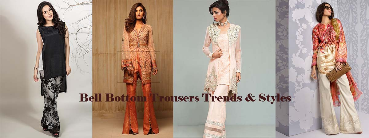f9a202b3c9f2 Now Pakistani designers have freshen ladies wardrobes with latest styles of bell  bottom trousers.