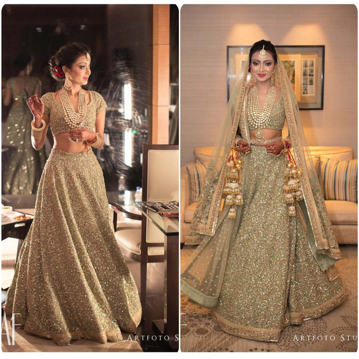 Beautiful Golden Walima Lehengas