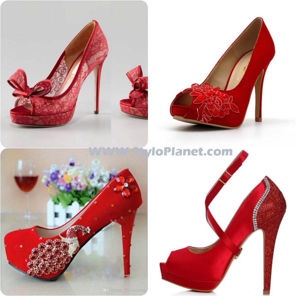 Bridal Shoes Stylo: Fancy Red Color Bridal Shoes Wedding 2017-2018 Collection