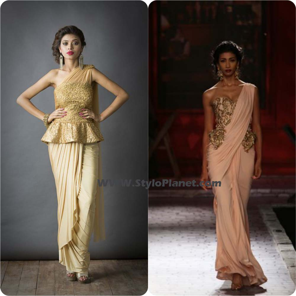 Peplum Shirts With saree