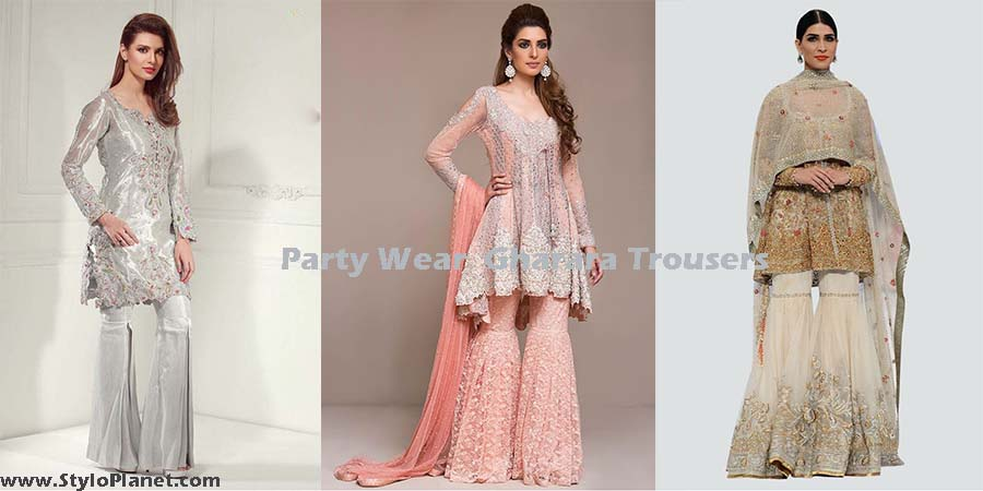 Stylish Party Wear Gharara Sharara Trousers Stylo Planet