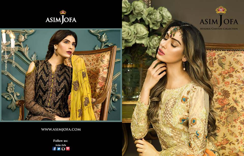 Asim Jofa Latest Eid Mysorie Chiffon Collection 2017-18 for Women
