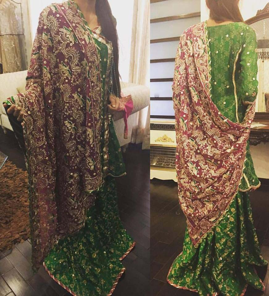 Green Color Mehndi Dresses