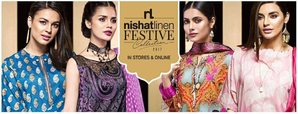 Nishat Linen Printed and Embroidered Eid Dresses Collection 2017-18