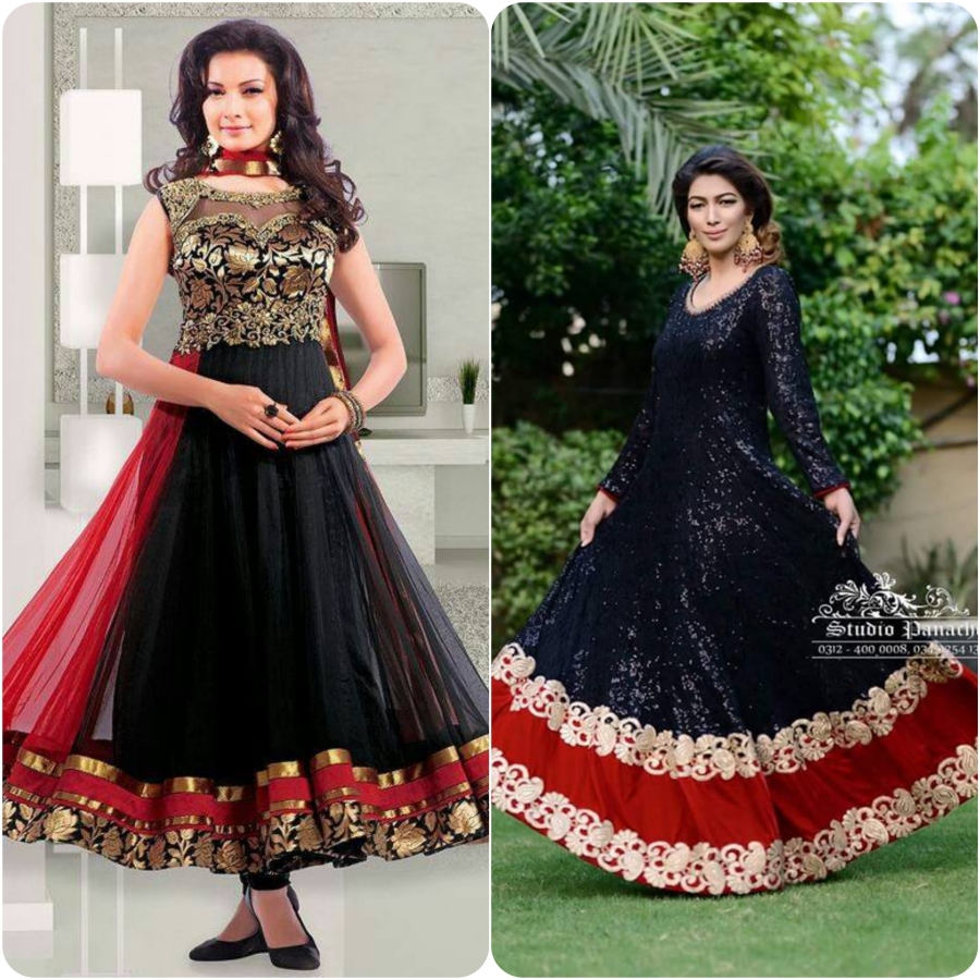58adae652 Latest Embroidered Umbrella Frocks Collections for Asian Girls