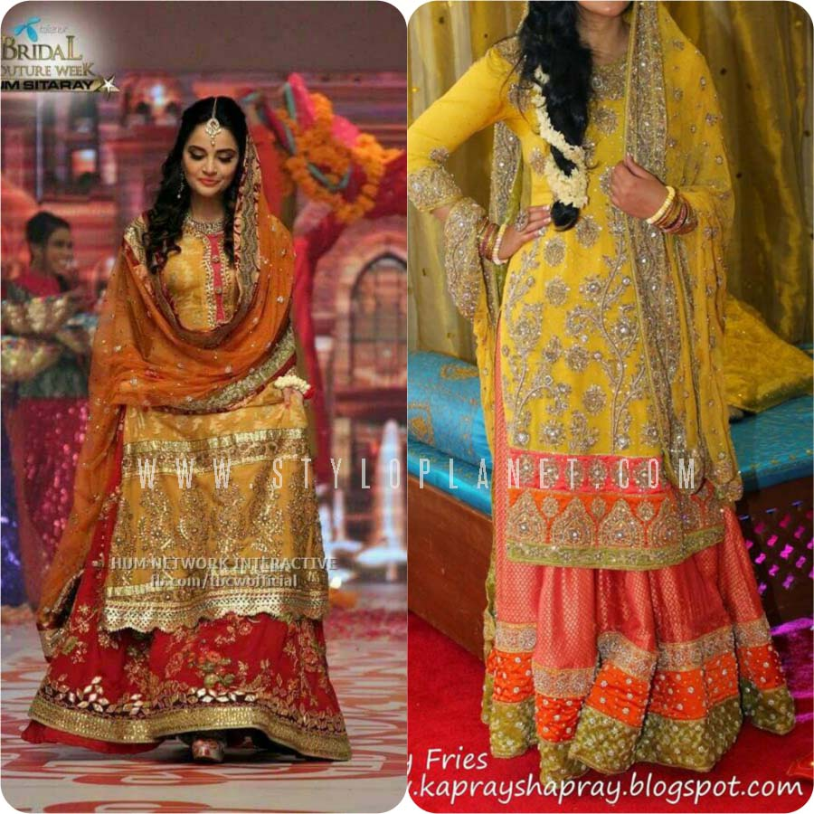 a3aa5fa408 ... Bridal Mehndi Dresses. Posted below dresses are enriched with classy  cuts and styles. Have a keen look at these stunning apparels and choose the  best ...