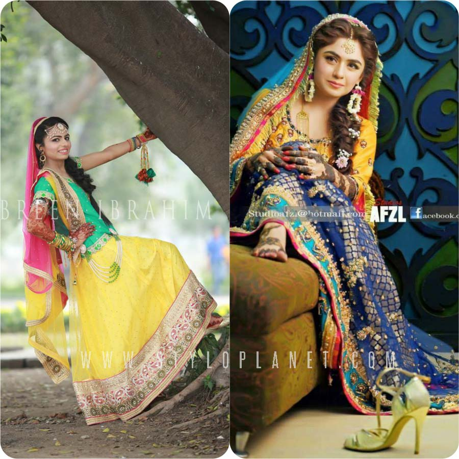 Unique Bridal Mehndi Dresses Design Collection 2017-18 for Pakistani Weddings