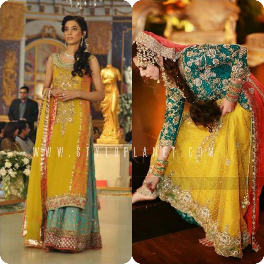 Mehndi Bridal Dress Design : Pakistani bridal mehndi dresses for brides stylo planet